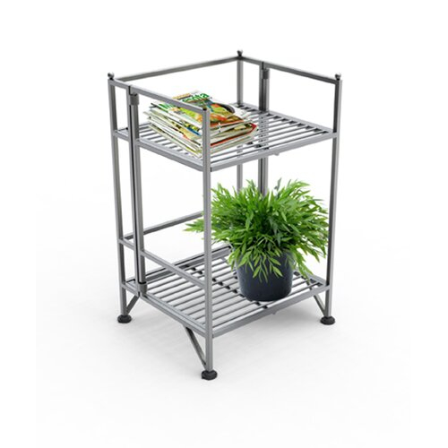 Convenience Concepts XTRA Storage 2 Tier Folding Shelf in Silver