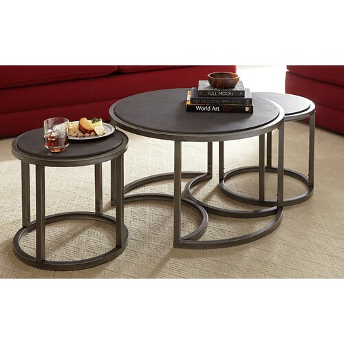 Rotation Coffee Table with Nesting Stools