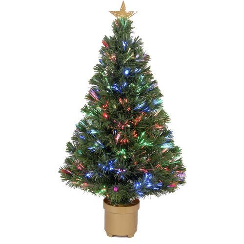 """Jolly Workshop Fiber Optic 2' 8"""" Green Artificial Christmas Tree with LED Muticolor Light"""