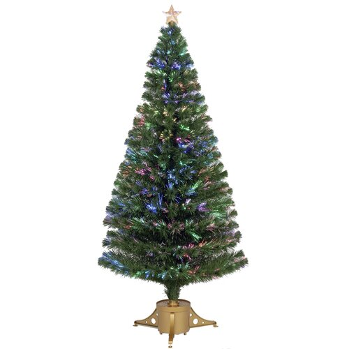 6' Green Artificial Christmas Tree with LED Light with Stand
