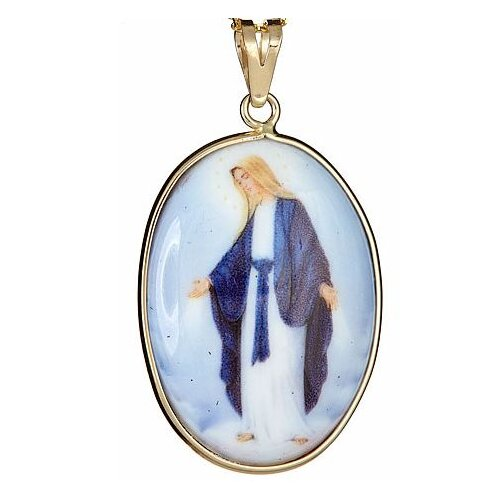 Museum 14K Gold Blessed Mother Enameled Porcelain Pendant