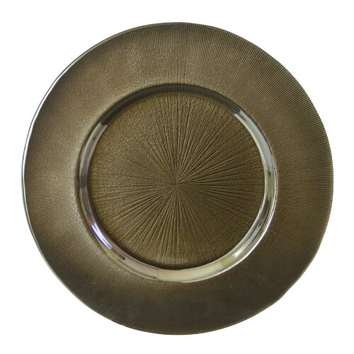 "Ten Strawberry Street Metallic 13.25"" Glass Charger Plate"