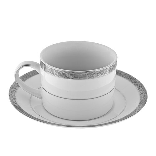 Ten Strawberry Street Luxor Platinum Rim 8 oz. Teacup and Saucer