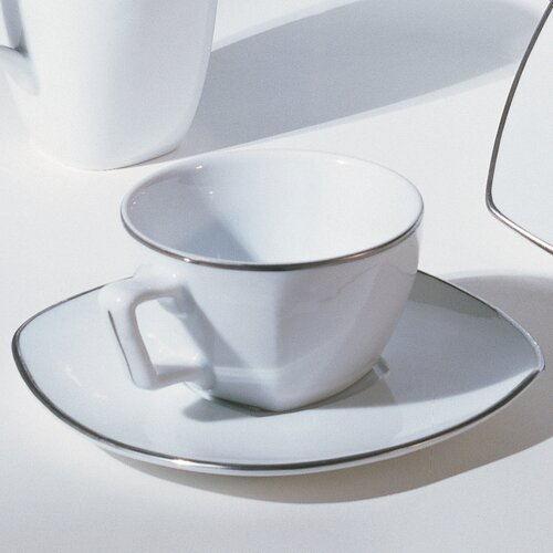 Ten Strawberry Street Lotus Silver Line 6 oz. Cup and Saucer