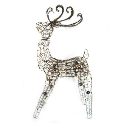 105 Light Multi Posing Grapevine Deer Sculpture Christmas Decoration