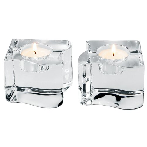 Orrefors Puzzle Crystal Votives (Set of 2)