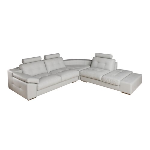 Eurosace Luxury Zenit Sectional Sofa with Chaise Lounge - Top Grain Italian Leather