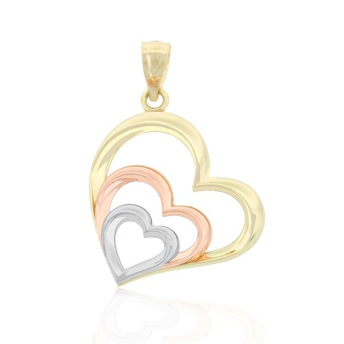 Tri Color Triple Heart Charm
