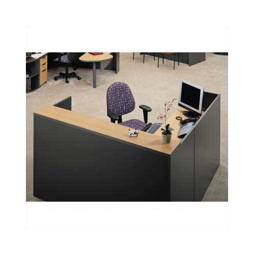 "ABCO Unity Series 72"" x 72"" Reception Desk with Matching 2-Drawer Partial Pedestal"