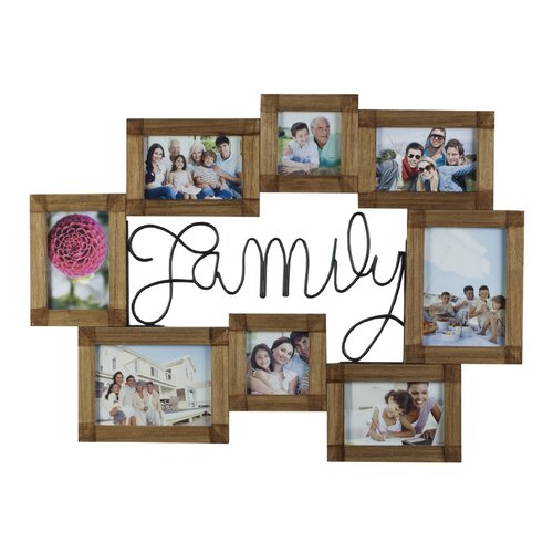 8 Opening Family Wire and Wood Collage Picture Frame