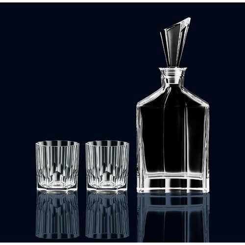 Nachtmann Aspen 3 Piece Decanter and Double Old Fashioned Glass Set