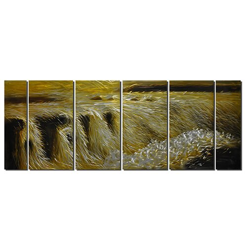 Pure Art Earth Tones Golden Waterfalls 6 Piece Original Painting Plaque Set