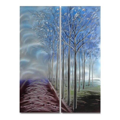 Tree Sculptures Forest of Solitude 2 Piece Original Painting Plaque Set
