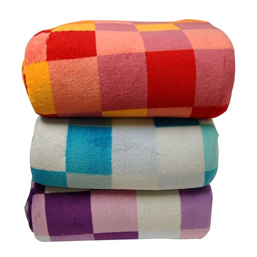 LCM Home Fashions Luxury Printed Check Micro Plush Blanket