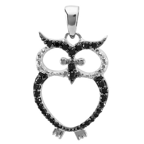 Dazzling Rock Sterling Silver Diamond Owl Pendant