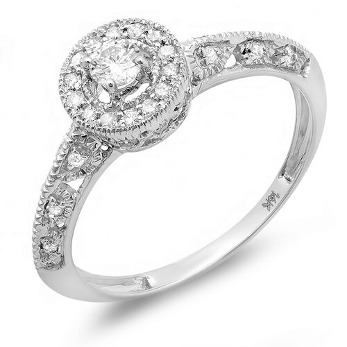 14K White Gold Round Cut Diamond Milgrain Halo Ring