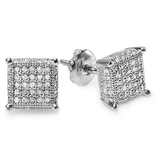 Men's Hip Hop Round Cut Diamond Stud Earrings