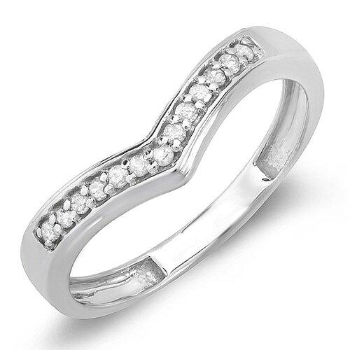 10K White Gold Round Cut Diamond Anniversary Wedding Band