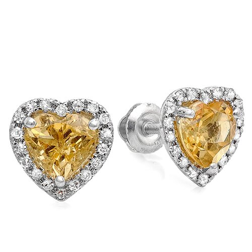 Heart Cut Gemstone and Diamond Halo Stud Earrings