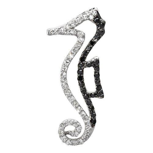 10K White Gold Diamond Seahorse Pendant