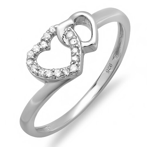 Dazzling Rock Sterling Silver Round Cut Diamond Double Heart Promise Ring