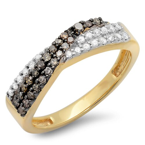 14K Yellow Gold Swirl Round Cut Diamond Anniversary Wedding Band