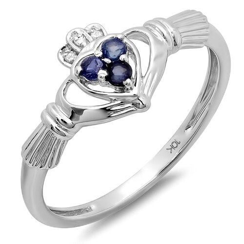 10K White Gold Round Cut Gemstone Claddagh Ring