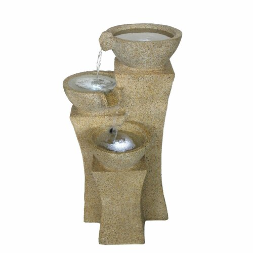 Lighted Fountains : Pure Garden Lighted Polyresin Cascading Bowls Tiered Fountain ...