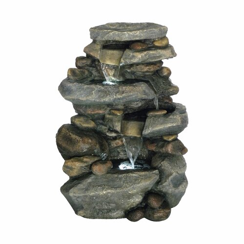 Pure Garden Lighted Polyresin Stone Waterfall Fountain