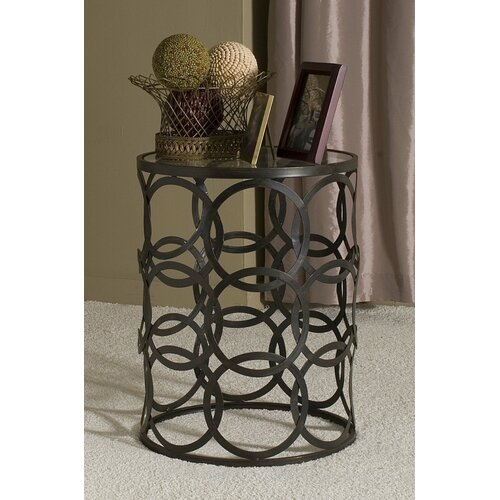 Dalton Home Collection Large Barrel Table with Circles and Removable Glass Top