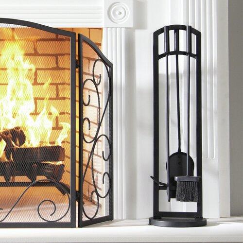 Pleasant Hearth 4 Piece Fire-Retardant Steel Fireplace Toolset