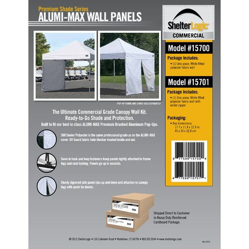 ShelterLogic Alumi Max Canopy Wall Kit with Center Zipper