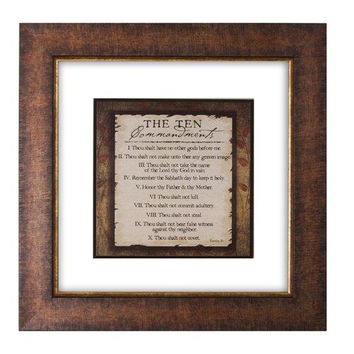 Ten Commandments Double Glass Matted Framed Textual Art