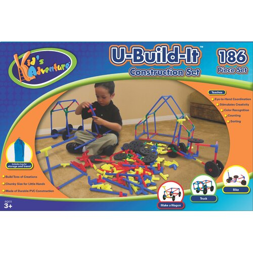 Kid's Adventure U Build It 186 Piece Construction Set