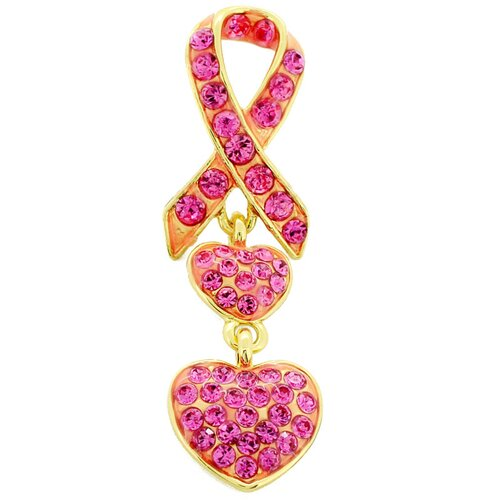 Ribbon Heart Lapel Crystal Brooch