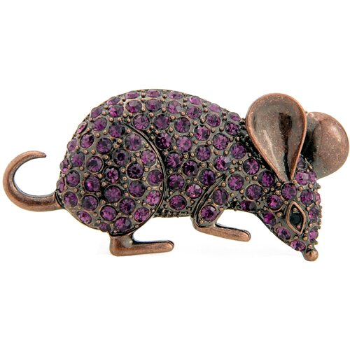 Mouse Animal Crystal Brooch