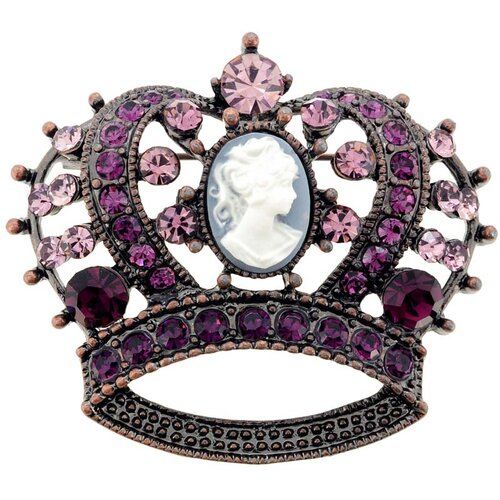 Cameo Crown Crystal Pin Brooch