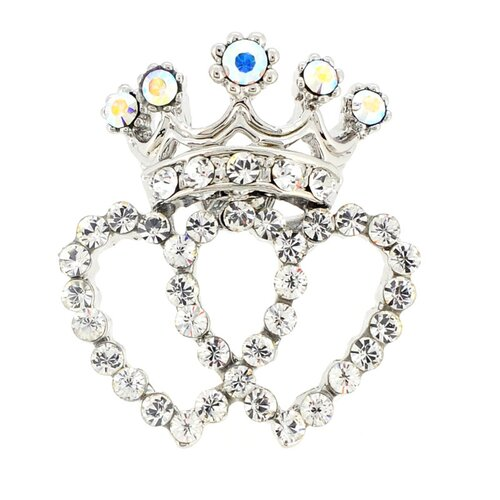 Double Heart Crown Lapel Crystal Brooch