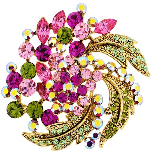 Flower Wedding Perovskia Crystal Pin Brooch Pendant