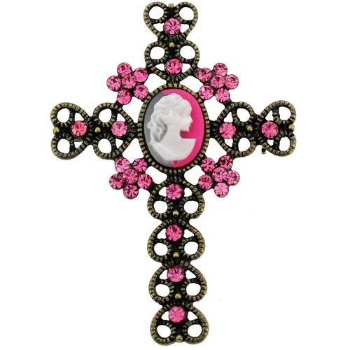Cameo Cross Brooch Pendant