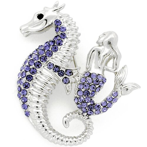 Fantasyard Tanzanite Seahorse and Mermaid Crystal Brooch