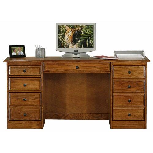 Classic Oak Computer Desk with Double Pedestal
