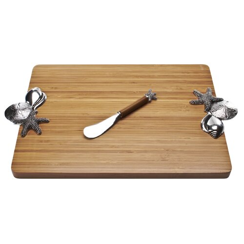 Thirstystone Bamboo Shells Serving Board with Spreader