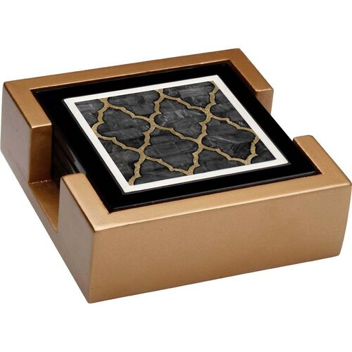 Thirstystone 5 Piece Mother of Pearl Ebony Ambiance Coaster Gift Set