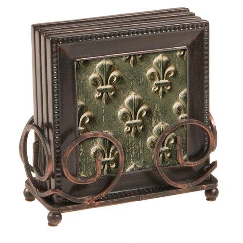 Thirstystone Fleur de Lis 5 Piece Ambiance Coaster Gift Set