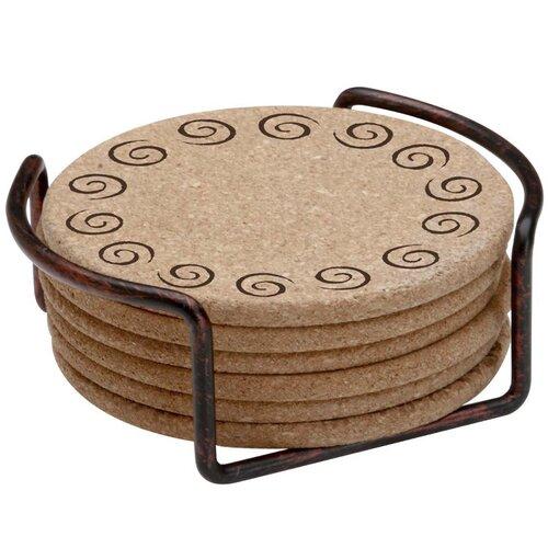 Thirstystone 7 Piece Swirls Cork Coaster Gift Set