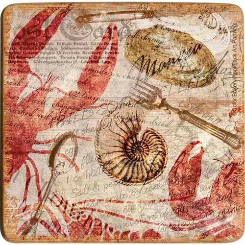 Seafood Postcard Bamboo Coaster (Set of 4)