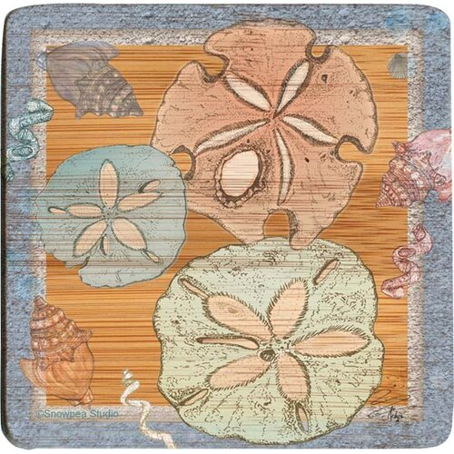 Sealife Sand Dollar Bamboo Coaster (Set of 4)