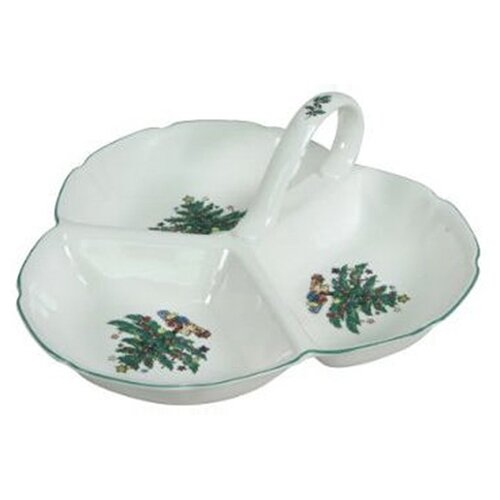 Nikko Ceramics Xmas Dinnerware Three Section Serving Tray