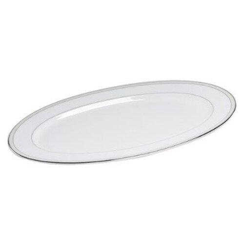"Nikko Ceramics Platinum Beaded Pearl 14.25"" Oval Platter"